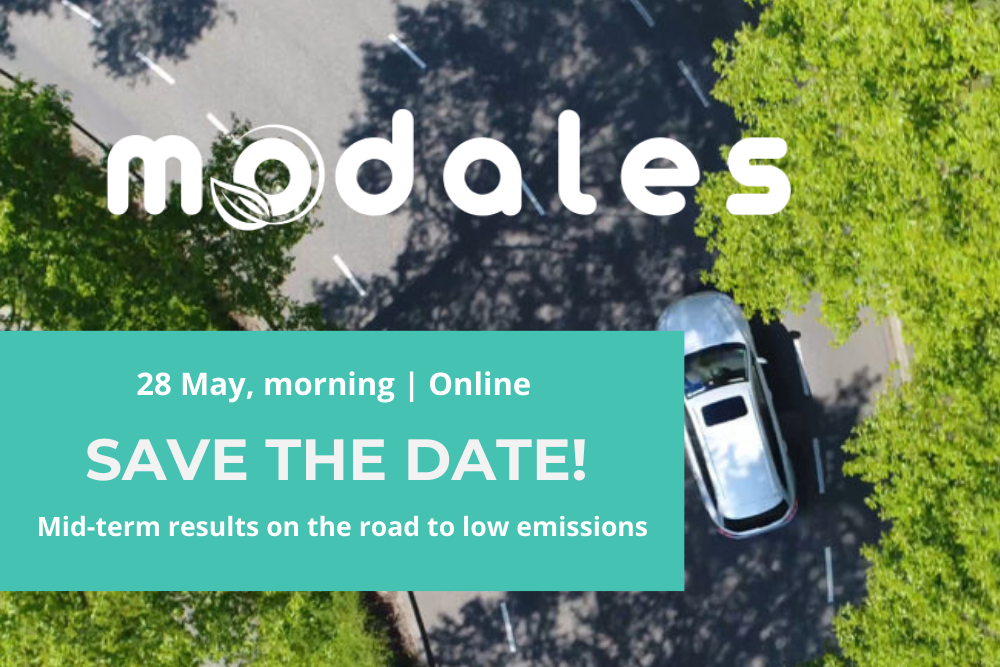 "SAVE THE DATE for MODALES free webinar ""Mid-term results on the road to low emissions"" on 28 May"